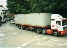 Transport 1 - Heavy goods vehicles on the A428 through the village before the opening of the bypass